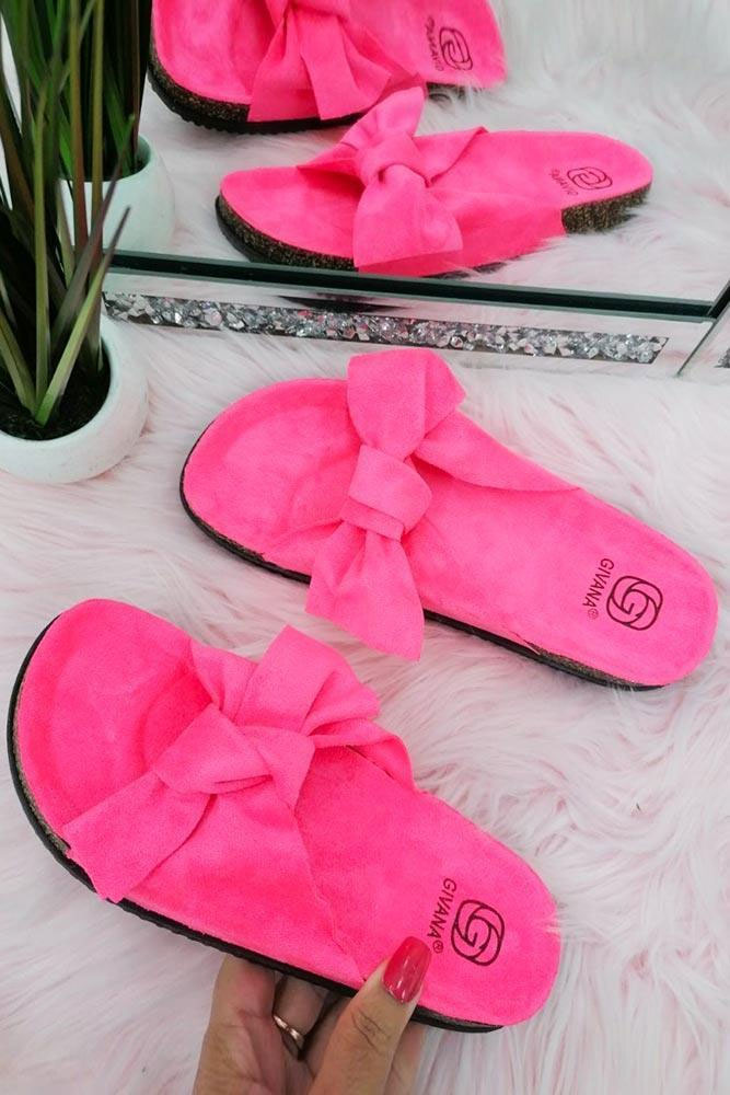 Women Bow Tie Flat Slider Fuchsia Pink