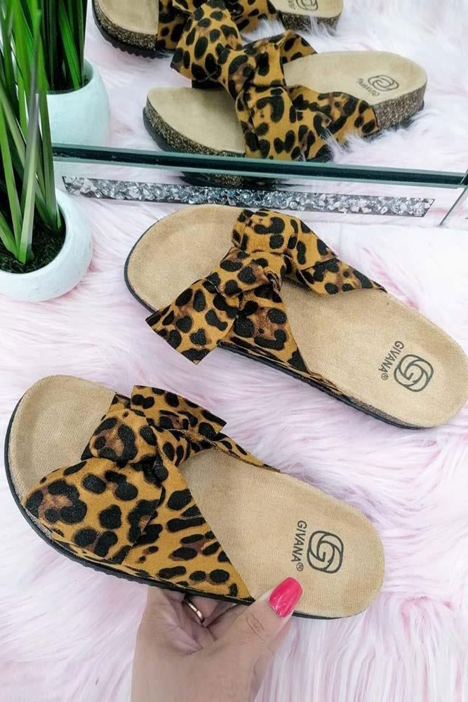 Women Bow Tie Flat Slider Leopard