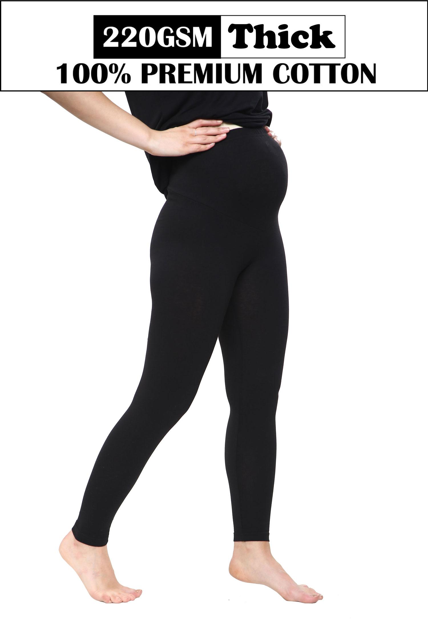 Women Maternity Full Length Black Thick Cotton Leggings (220-GSM)
