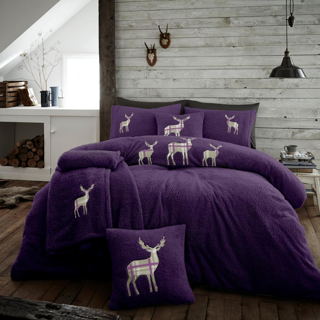 XMAS Stag Embroidered Teddy Bear Purple Fleece Soft Duvet Set