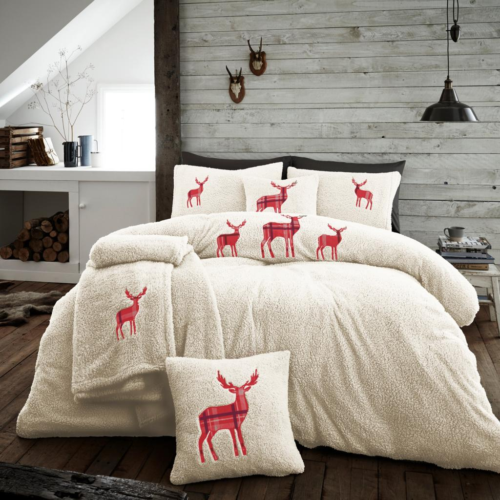 XMAS Stag Embroidered Teddy Cream Fleece Soft Duvet Set