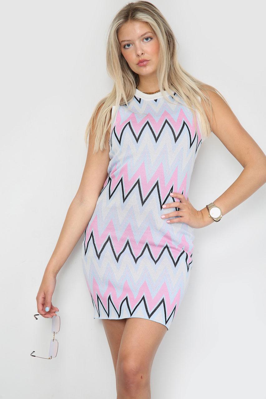 Zig Zag Knitted Bodycon Dress Pink